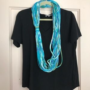 Accessories - Rope Scarf - Shades of Blue Tie Dye Loop Infinity